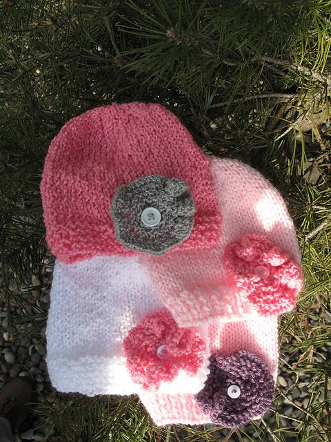 Cute Simple Knit Flower And Hat Knit Knit Knit Pinterest Knit