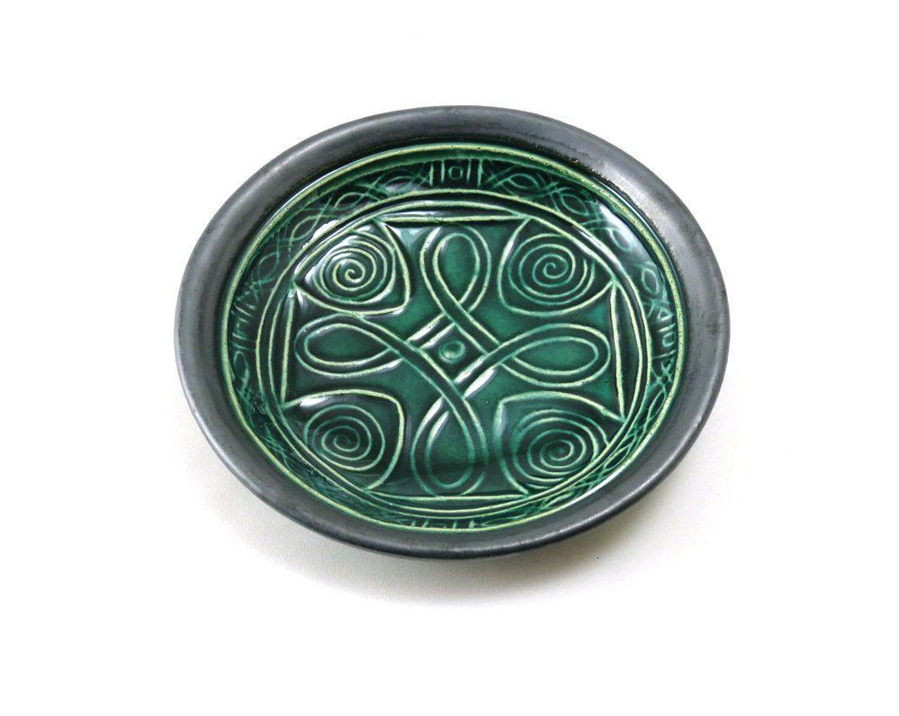 POTTERY BOWL Celtic Cross Bowl Ceramic Forest Green by DeBaunFineCeramics on Etsy