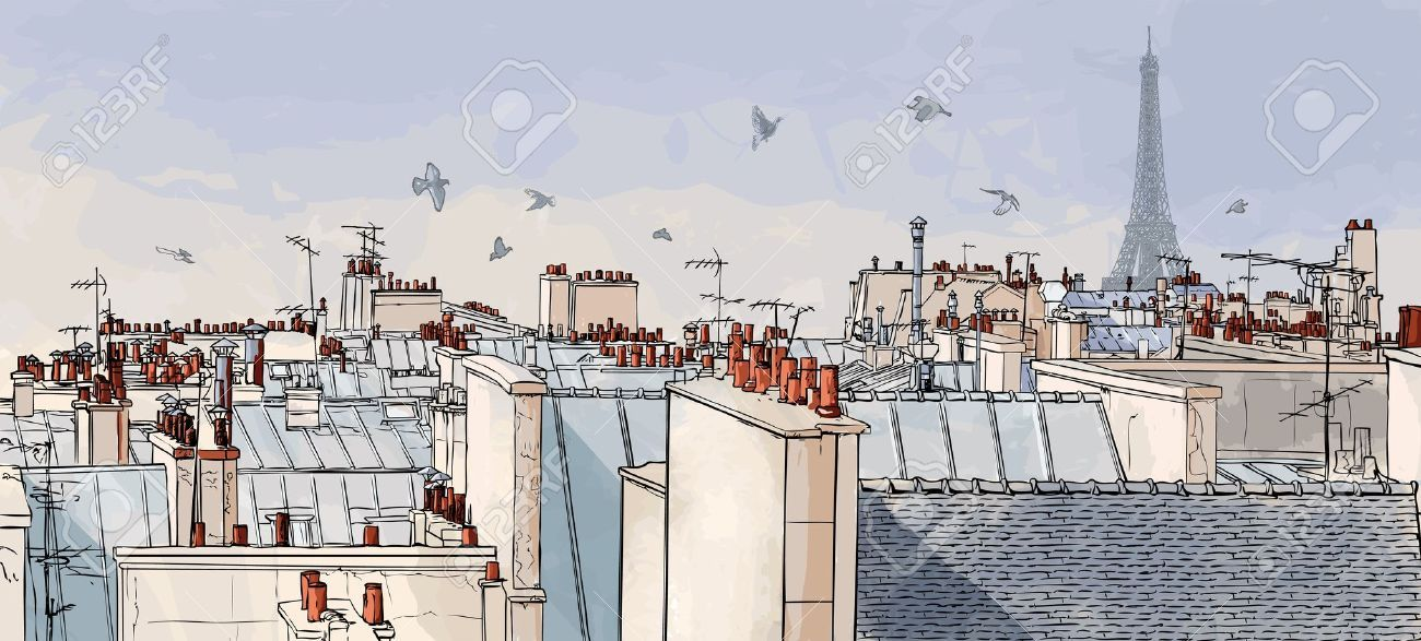 Vector Illustration Of A View On Paris Roofs With Eiffel Tower Paris Paris Illustration Paris Rooftops