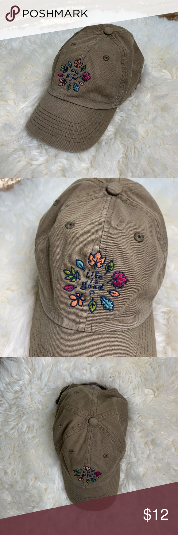 Life Is Good Saddle Embroidered Cap Hat Embroidered Caps Cute Embroidery Caps Hats