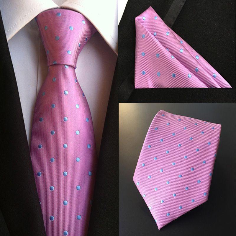 Fashion Men's 100% Silk Tie Set (Ties Handkerchief) Solid Polka Dot Flower Dot sWedding Party Pocket Square Neck Tie Hanky