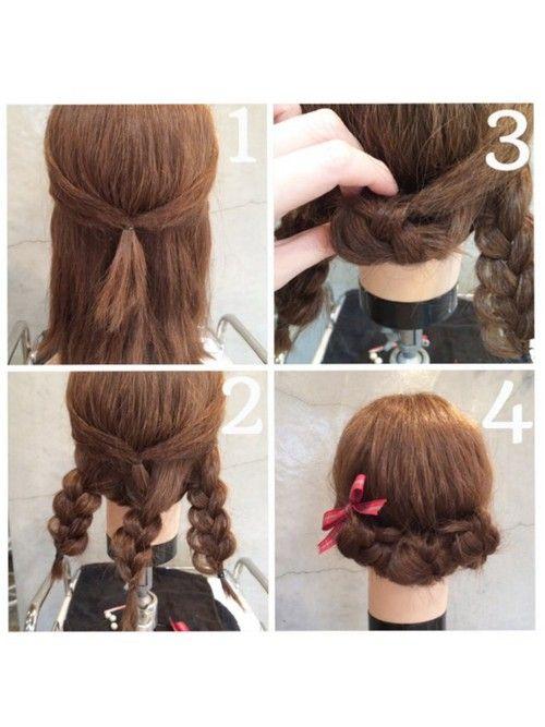 短めさんアレンジ サイドの髪を後ろで結ぶ 残った髪を3分割して
