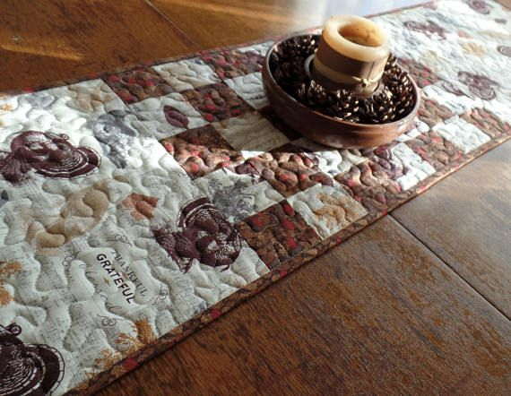 Thanksgiving Table Runner Fall Quilted Turkey