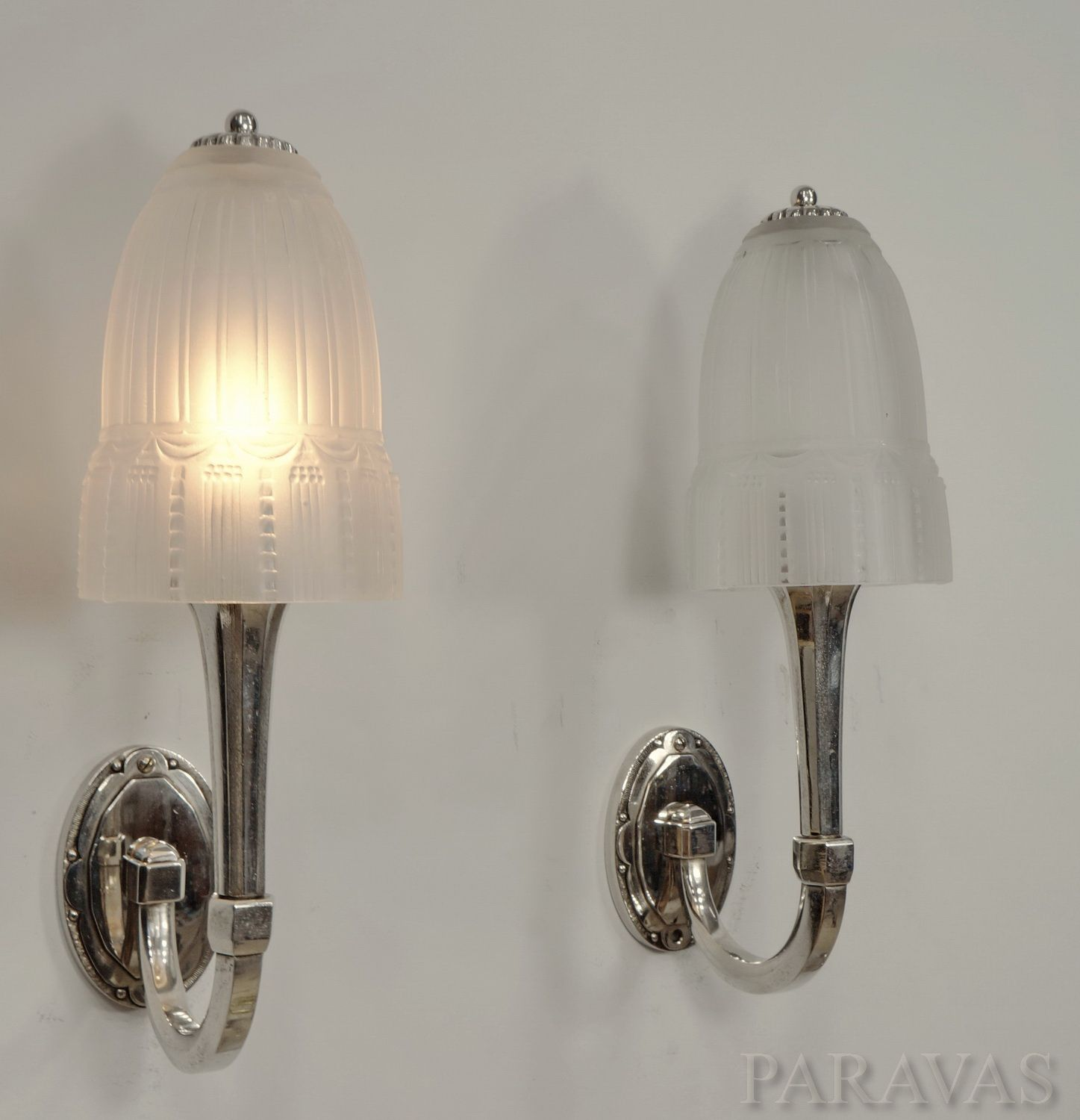 French art deco wall sconces by J Codure Shades by Muller freres