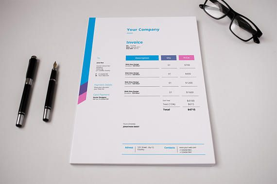 Simple Invoice Template, Corporate business invoice InDesign - simple invoice