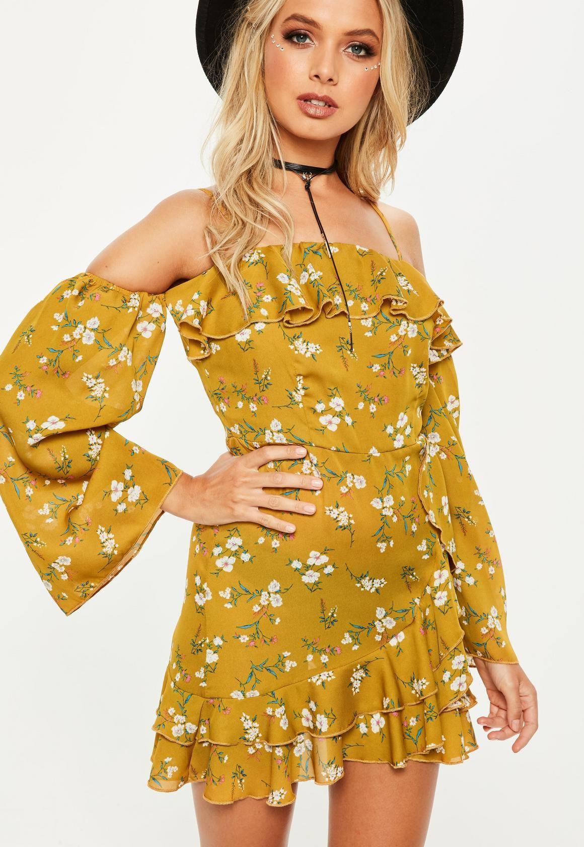 Yellow bardot printed wrap front tea dress your anthropologie