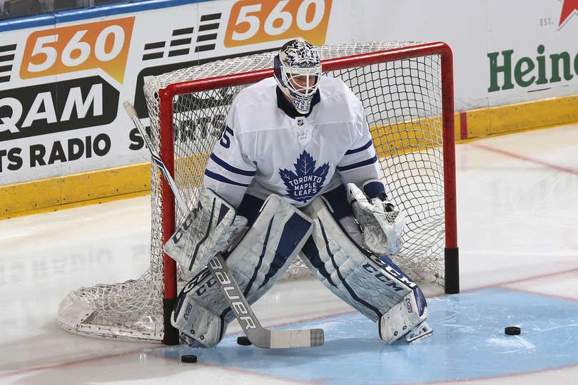 SUNRISE, FL - FEBRUARY 27: Goaltender Curtis McElhinney #35 of the Toronto Maple Leafs warms up prior to the game against the Florida Panthers at the BB&T Center on February 27, 2018 in Sunrise, Florida. (Photo by Joel Auerbach/Getty Images)