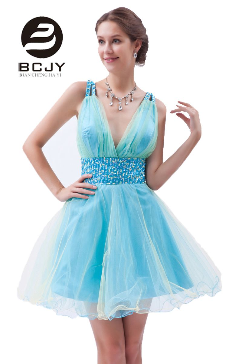 Click to buy ucuc sweety v neck a line short prom dresses