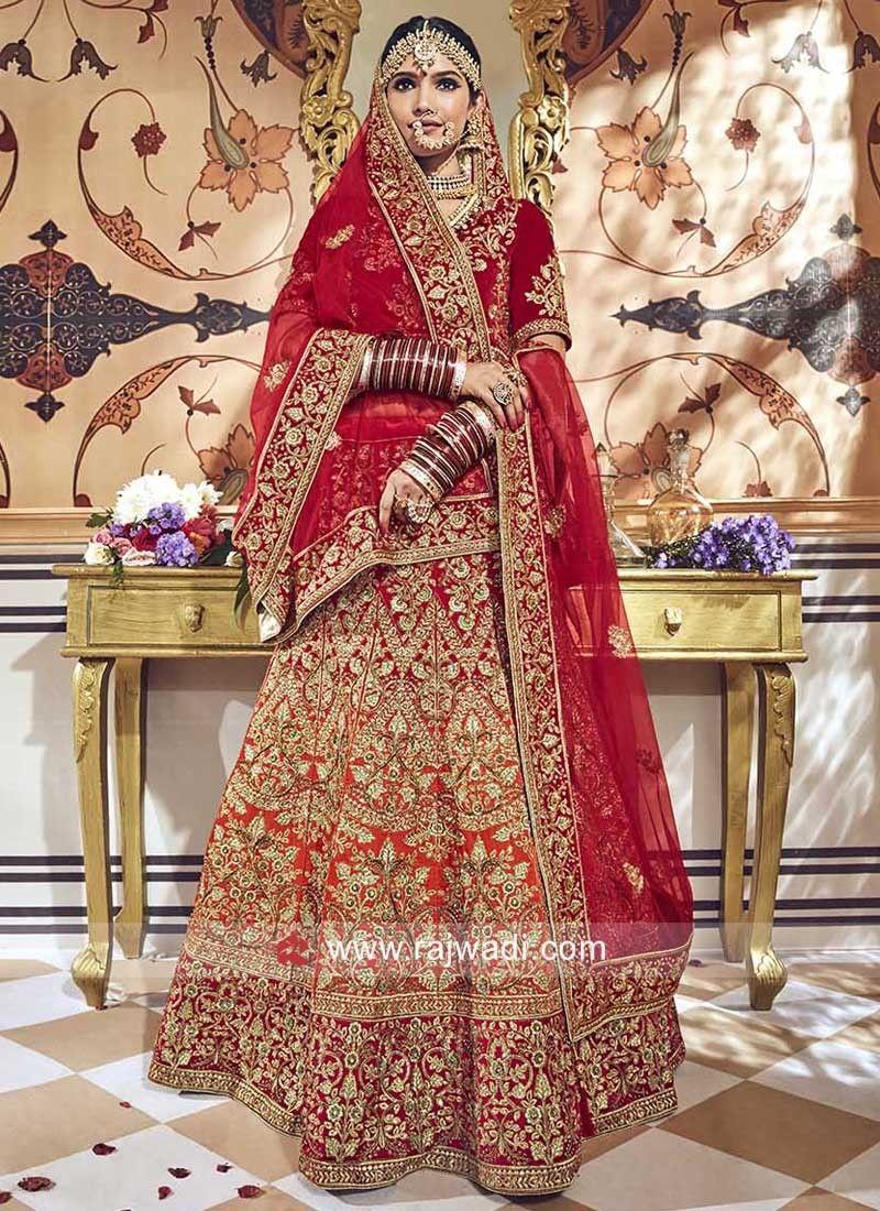 0b8147fea0 Bridal Velvet Shaded Lehenga Choli. #rajwadi #lehengacholi #weddingseason  #weddingdress #embroidery #lehenga #ethnicwear #bridalwear #designerwear # .