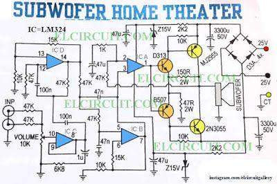 Circuit Diagram Of Home Theater Hpm Light Socket Wiring Subwoofer Power Amplifier Pinterest