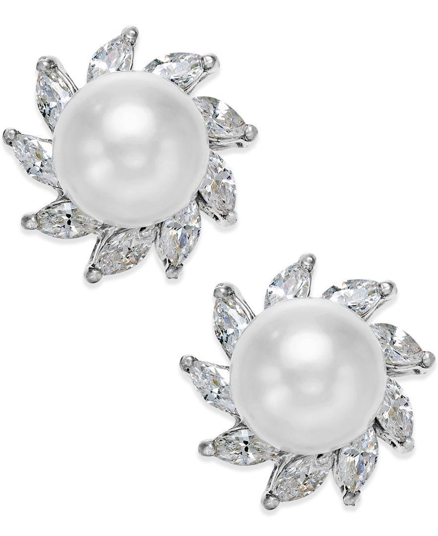 c.a.k.e. by Ali Khan Silver-Tone Imitation Pearl and Crystal Stud Earrings
