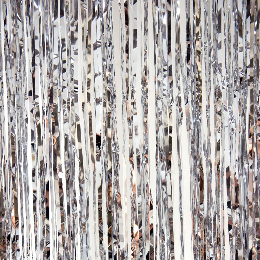 Decostar Sparkling Metallic Foil Fringe Curtain 96 12 Pieces Silver Foil Curtain Plastic Curtains Hanging Decor