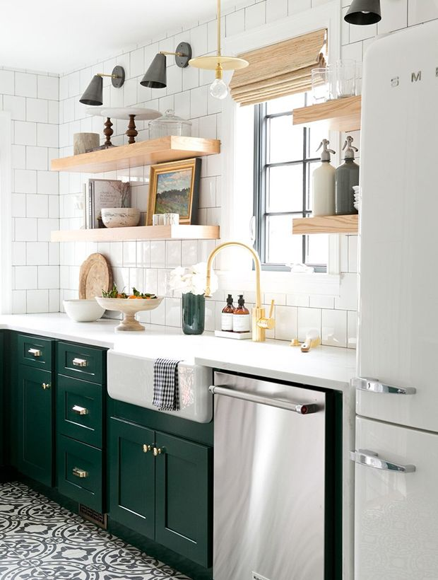 Bored Of White Kitchens Discover The Cabinet Color Trending Now Small Modern Kitchens Green Kitchen Cabinets Modern Kitchen Design