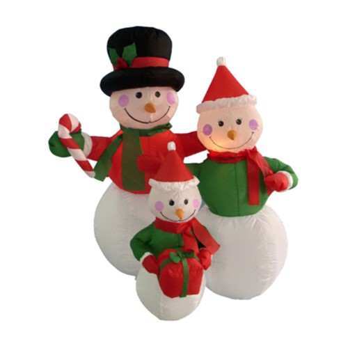 Northlight 4 ft Inflatable Snowman Family Lighted Yard Decoration - disney christmas yard decorations