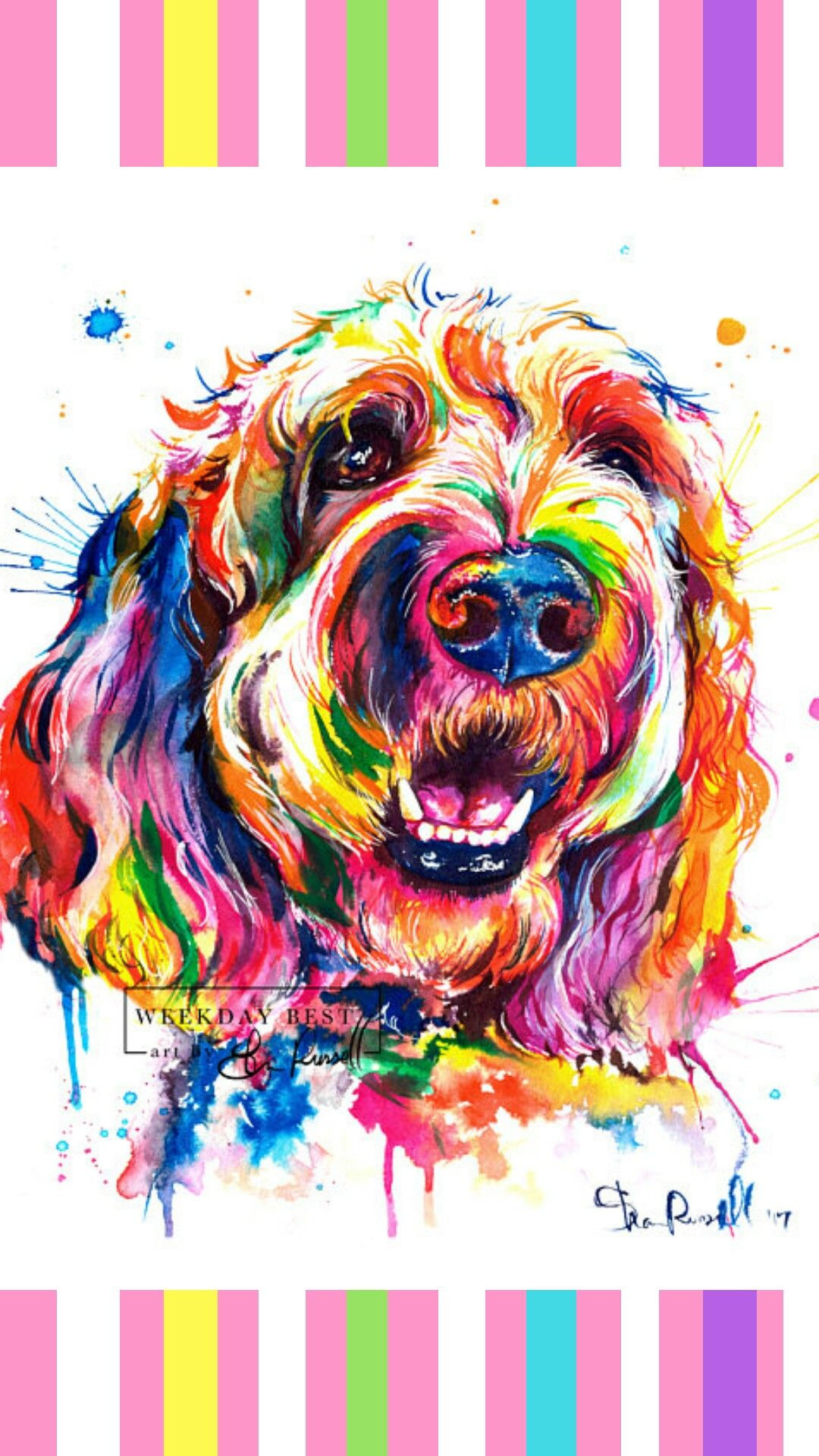 Colorful Goldendoodle Or Labradoodle Wall Art Print Of My