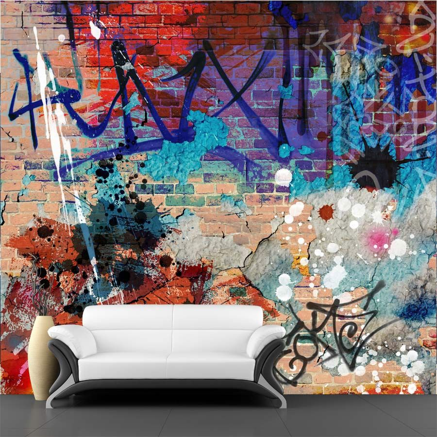 35 awesome graffiti brick wall mural images kinderkamer for Brick mural wallpaper