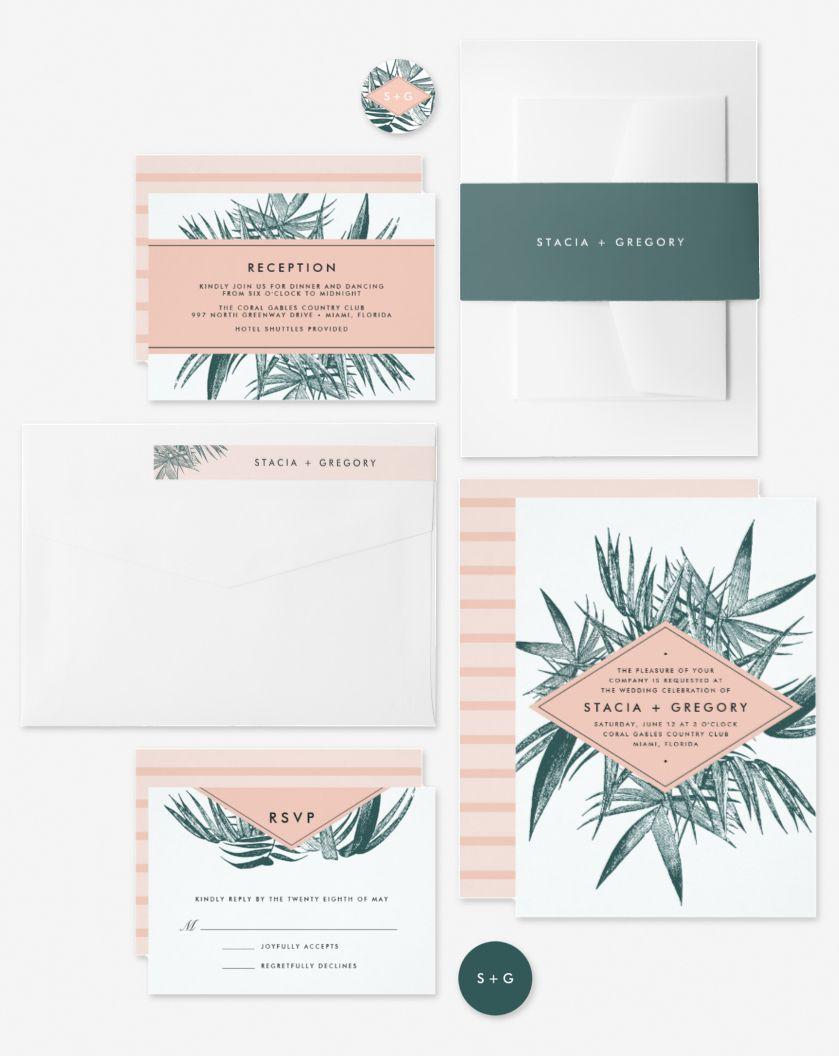A Modern Tropical Wedding Invitation Collection For Elegant Beach Weddings Vintage Jasper Green Palm Glam Wedding Invites Dream Beach Wedding Tropical Wedding
