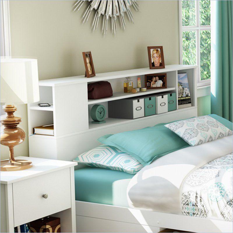south shore breakwater full queen bookcase headboard in pure white finish