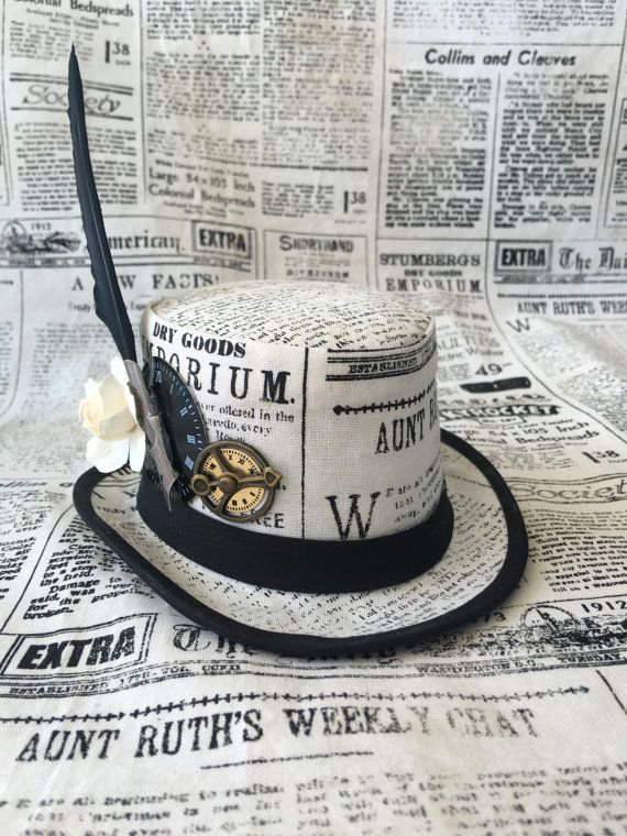 Steampunk Mode Steampunk Mini Hut Fascinator Zeitungspapier Von