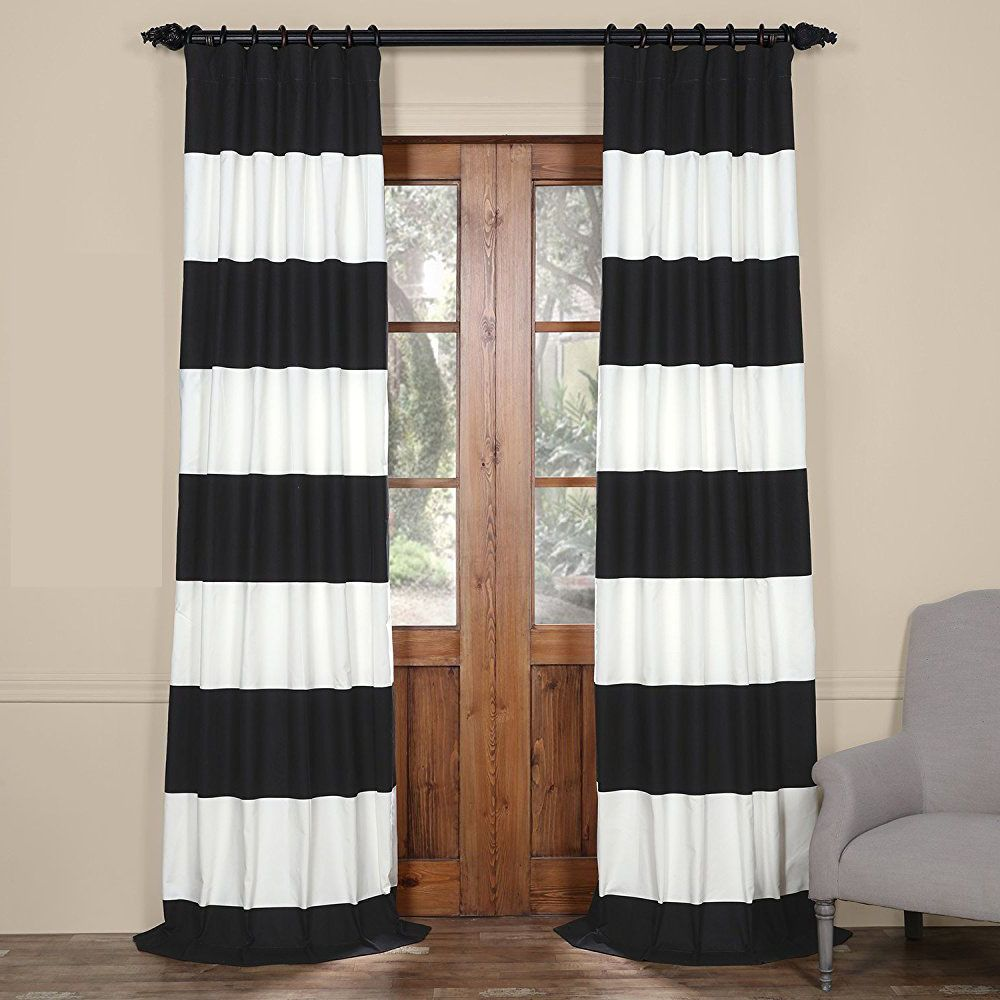 Modern Farmhouse Color Block Rugby Striped Curtains For Living