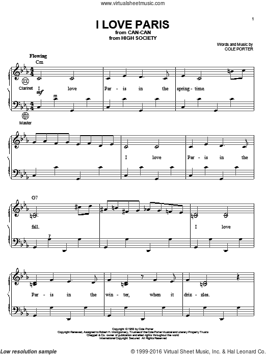 Download and Print I Love Paris sheet music for accordion by Cole ...