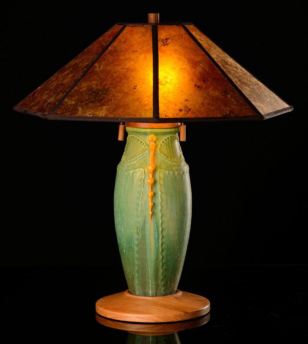 Dragonfly Pottery Lamp in Autumn Mix with Amber Mica Shade , Mission Table Lamps, Mission Lighting