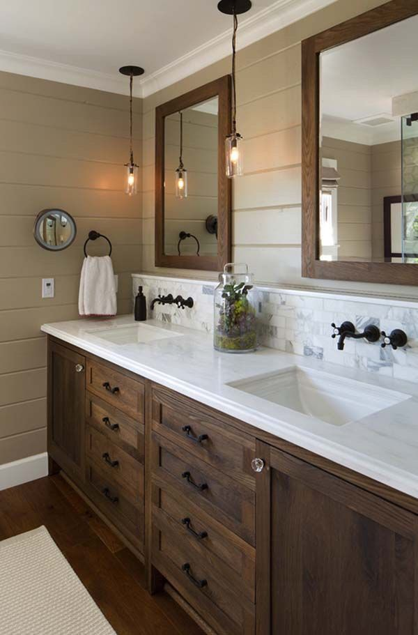 dark vanity, white counter tops, dark hardware | Master Bath ...