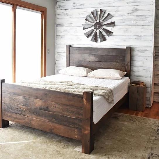 Wood Bed Frame Platform Bed Queen Bed King Headboard Modern