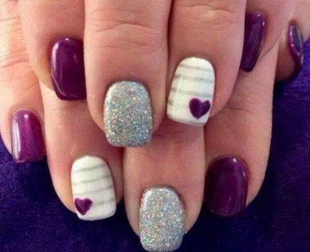 White/Purple and Silver nails
