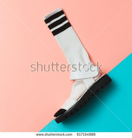Sandals and socks. Summer minimal creative. Hipster style Top view