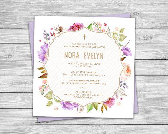 Floral Baptism, Christening Invitation, Floral Invitation, Printable Invitation