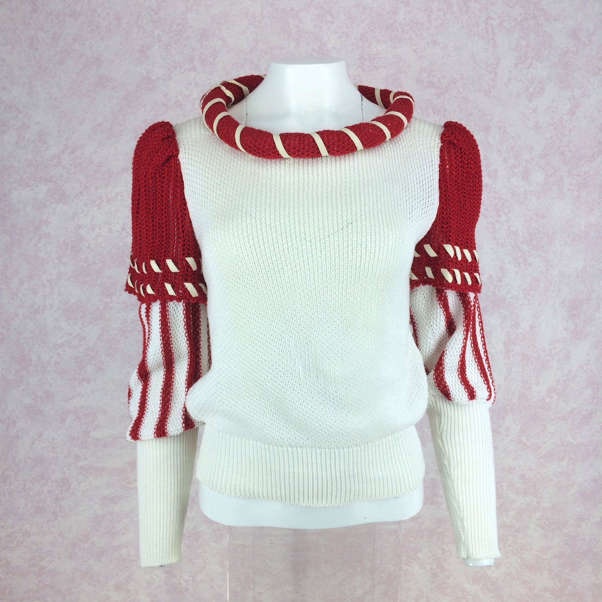 Vintage 80s Red & White Color Blocked Knit Pullover, NOS