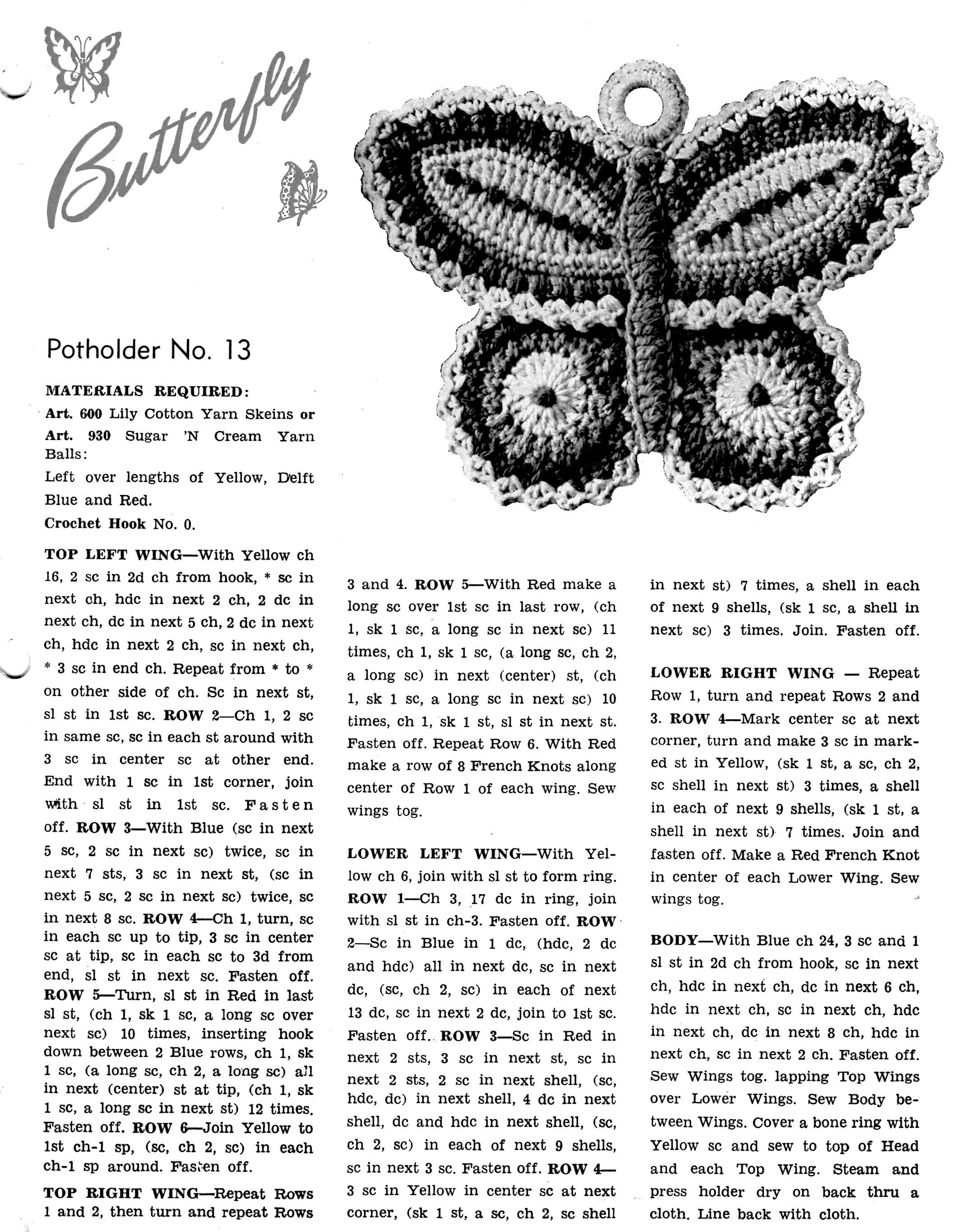 Free Crochet Pattern Butterfly Potholder Vintage Crafts and More ...