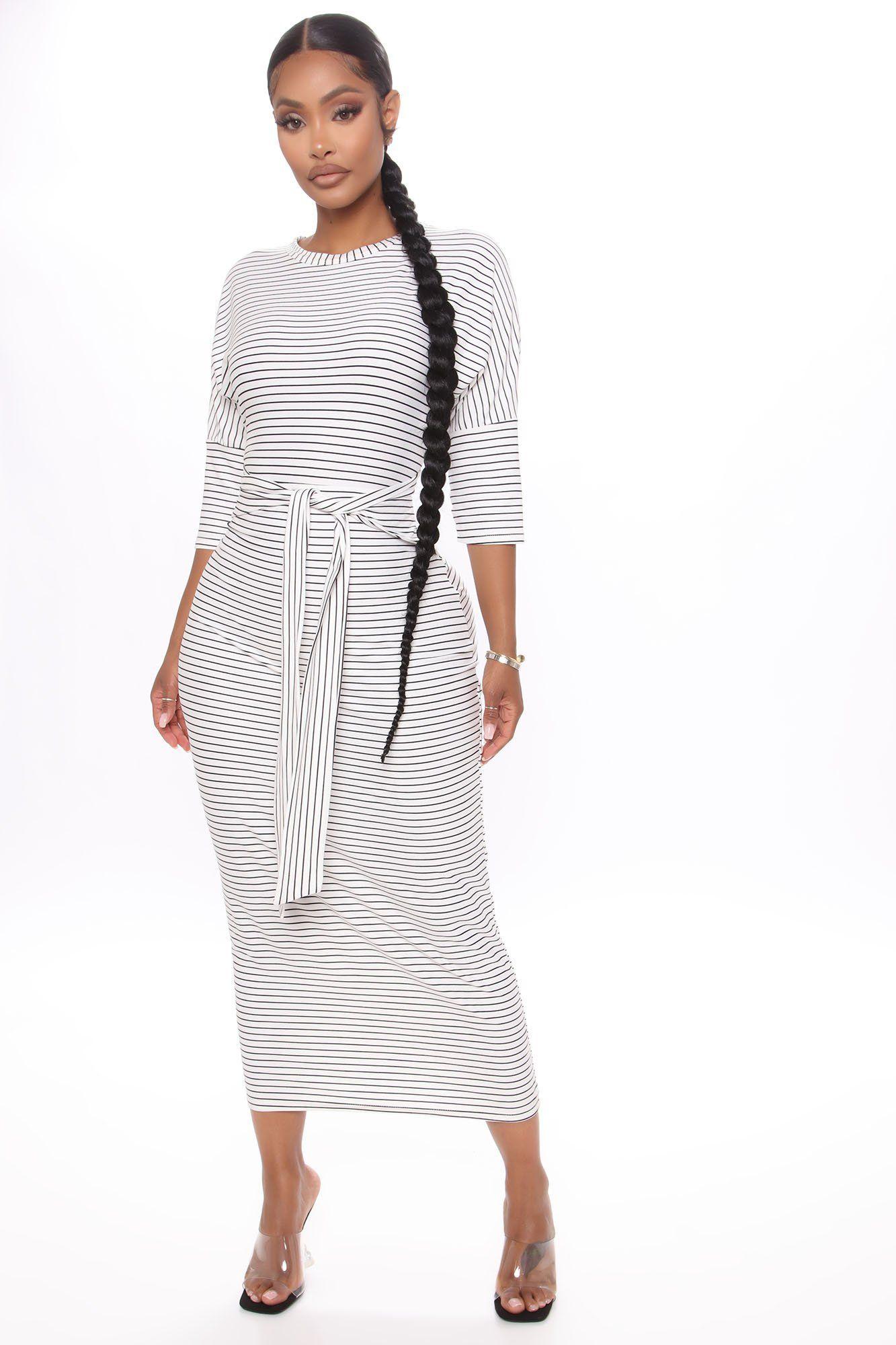 Tied Lines Striped Midi Dress White Black In 2021 White Midi Dress African Fashion Skirts Striped Midi Dress [ 2000 x 1333 Pixel ]