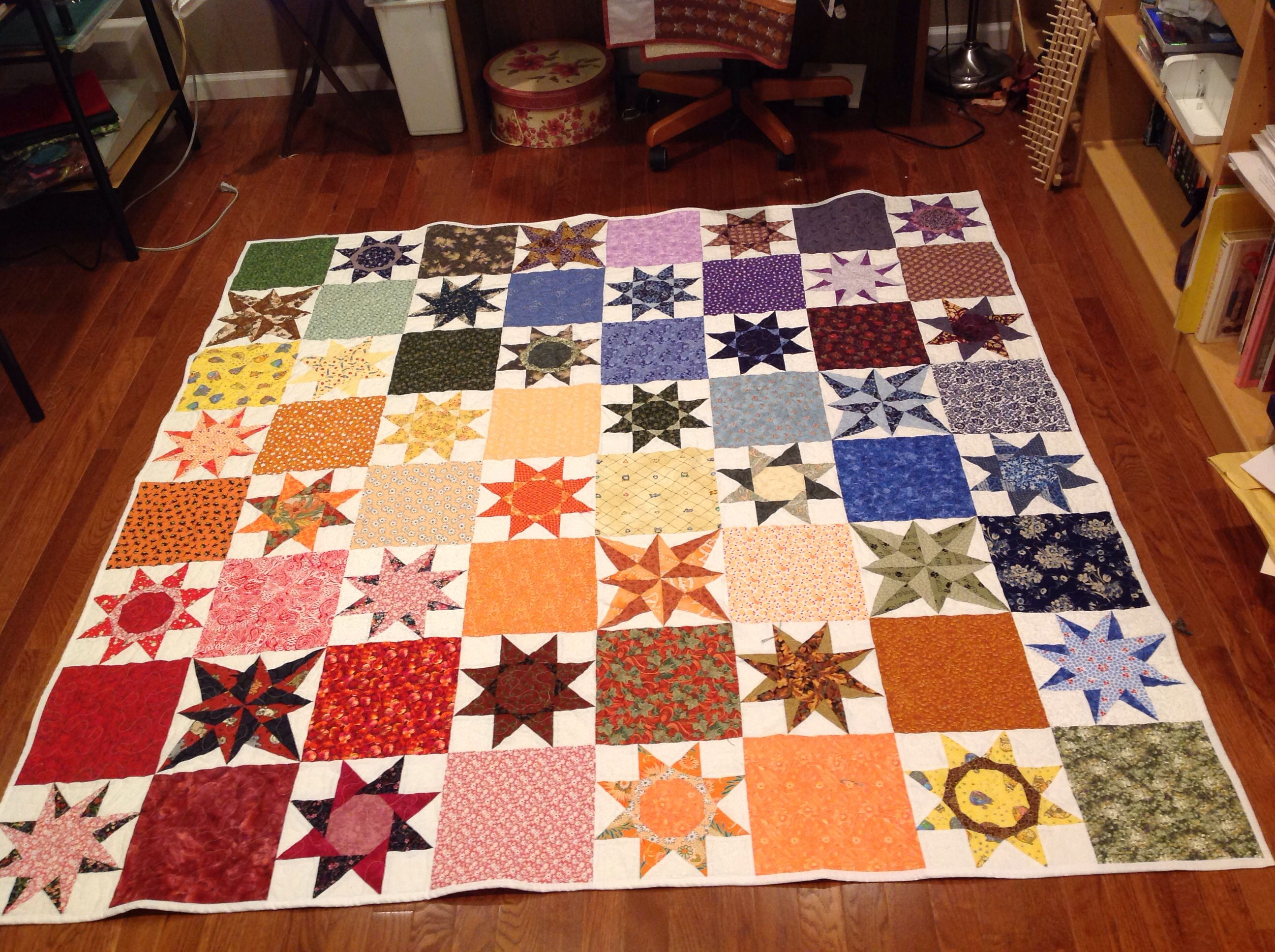 Made by Cindy.  Five star quilt