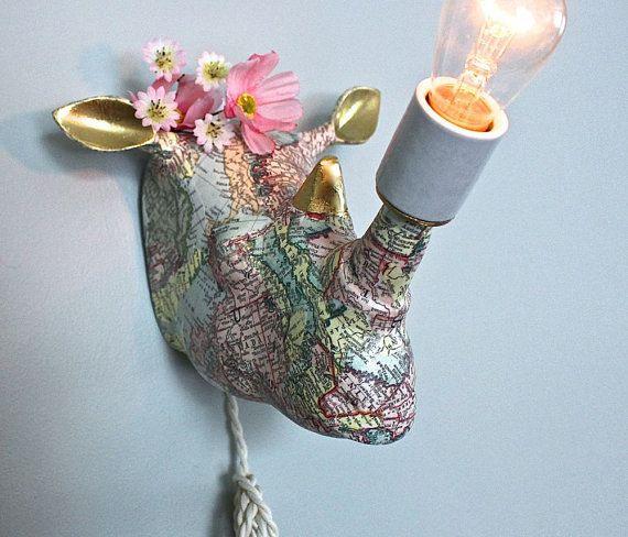 Faux taxidermy rhino wall sconce childrens lamp world map bare bulb faux taxidermy rhino wall sconce childrens lamp world map bare bulb boy girl bedroom animal light gumiabroncs Gallery
