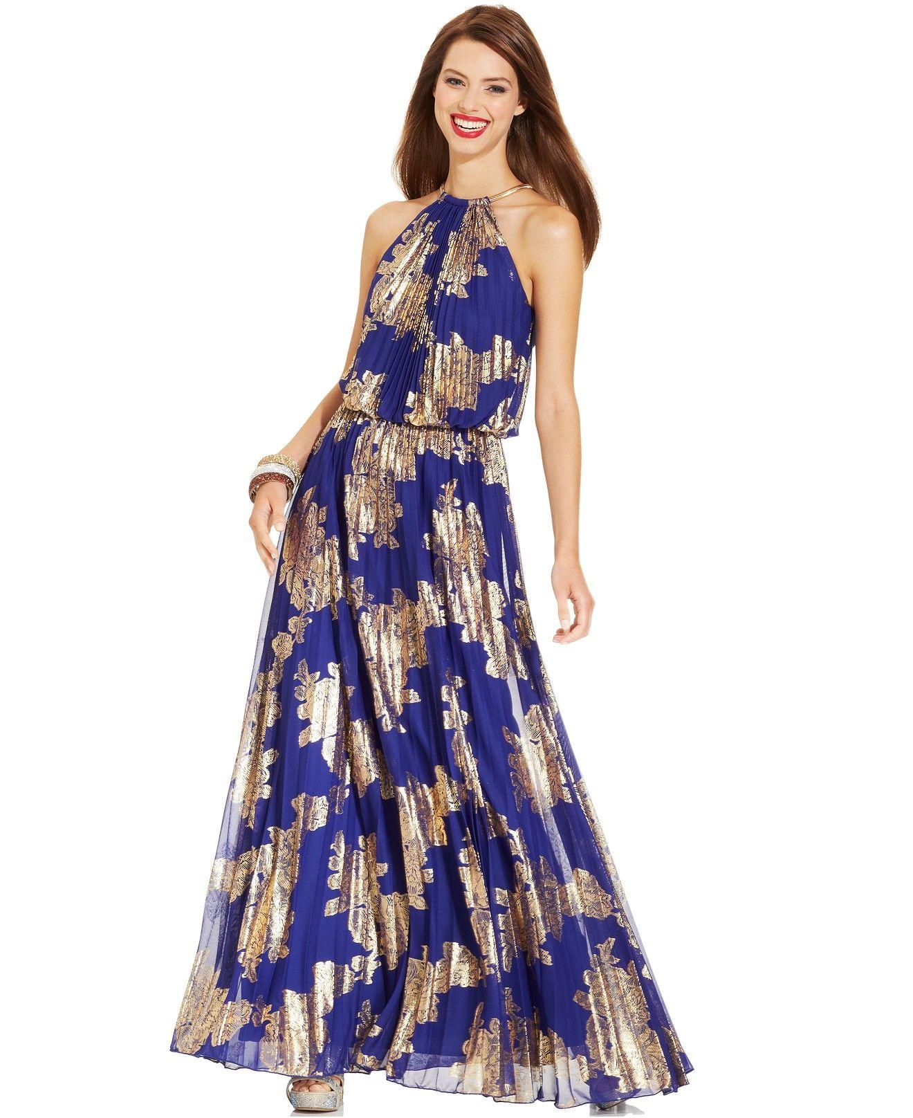 Xscape Metallic-Print Halter Gown - Dresses - Women - Macy\'s | maxi ...