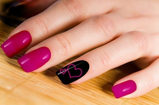 Pink Black Hearts Nail Art Design Jpg 550 366 Pink Nail Art Designs Nail Art Designs 2016 Cute Pink Nails