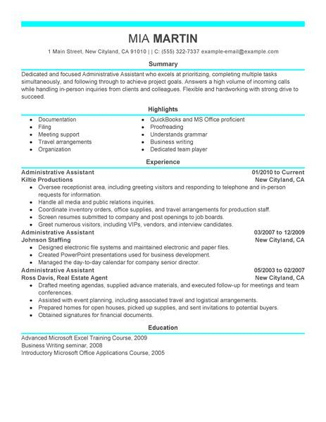 application letter resume examples good resumes that get jobs - sample resume for administrative assistant