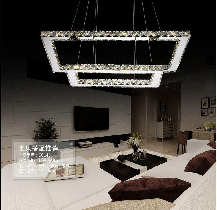 Modern lighting restaurant square 2 layer crystal led dimming chandelier fixture crystal lustre led light l40