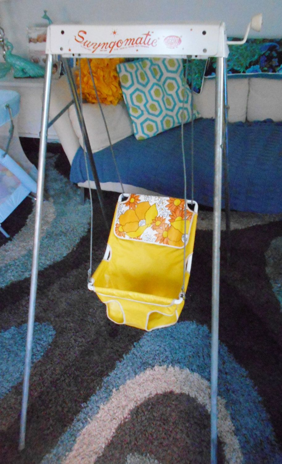 Vintage Baby Swing/ Swyngomatic by Graco Circa 1970's Yellow and Orange by RadiogirlCarolyn on Etsy