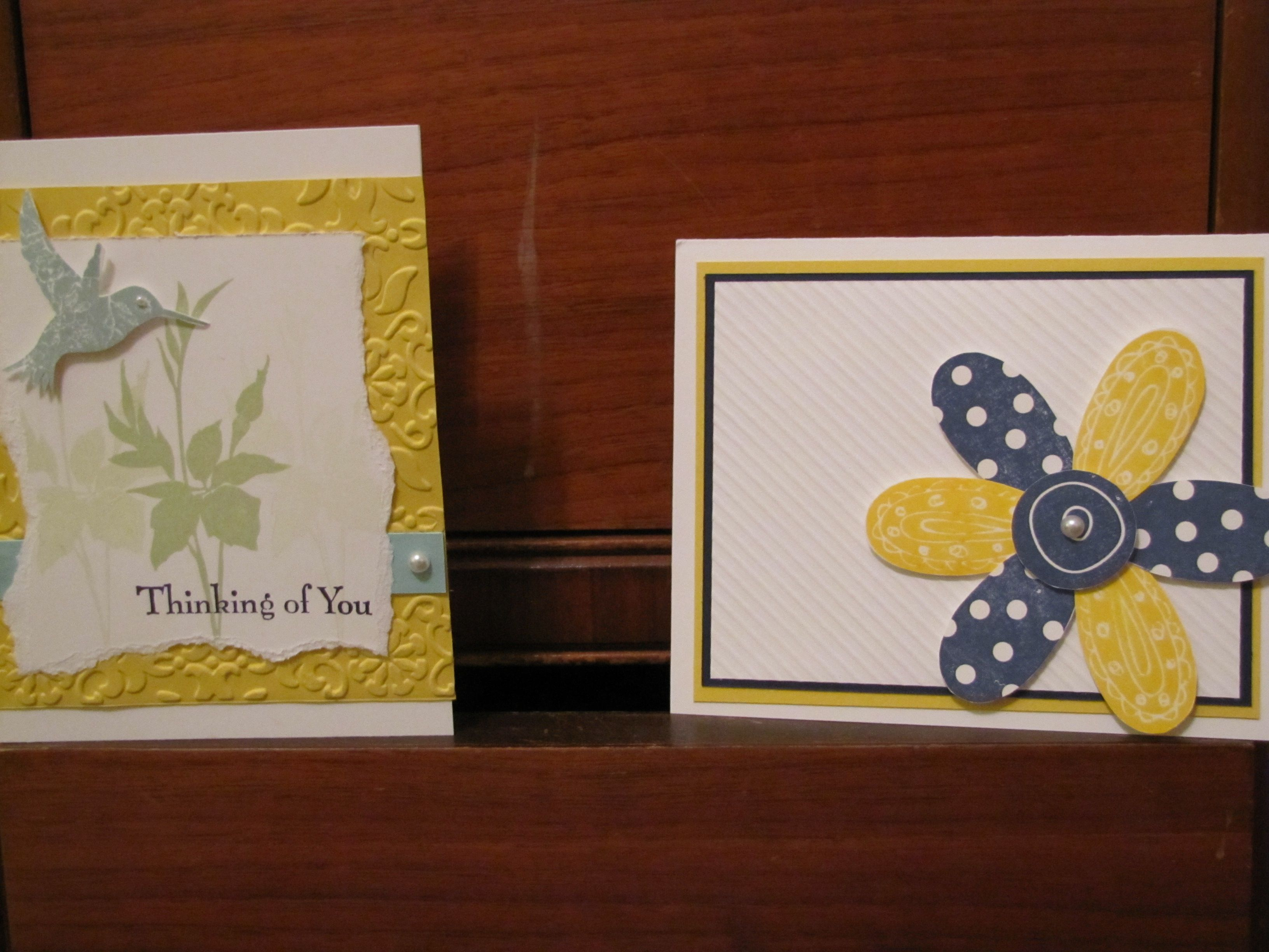 Stampin Up! is so much fun! I enjoy being a demonstrator and making new things! :) These two cards were made by me.