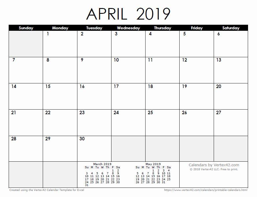 40 Monthly Calendar Template 2019 In 2020 Printable Calendar