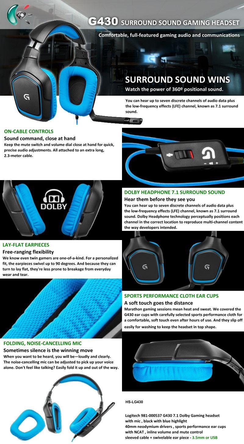 Logitech G430 Surround Sound Gaming Headset | Logitech