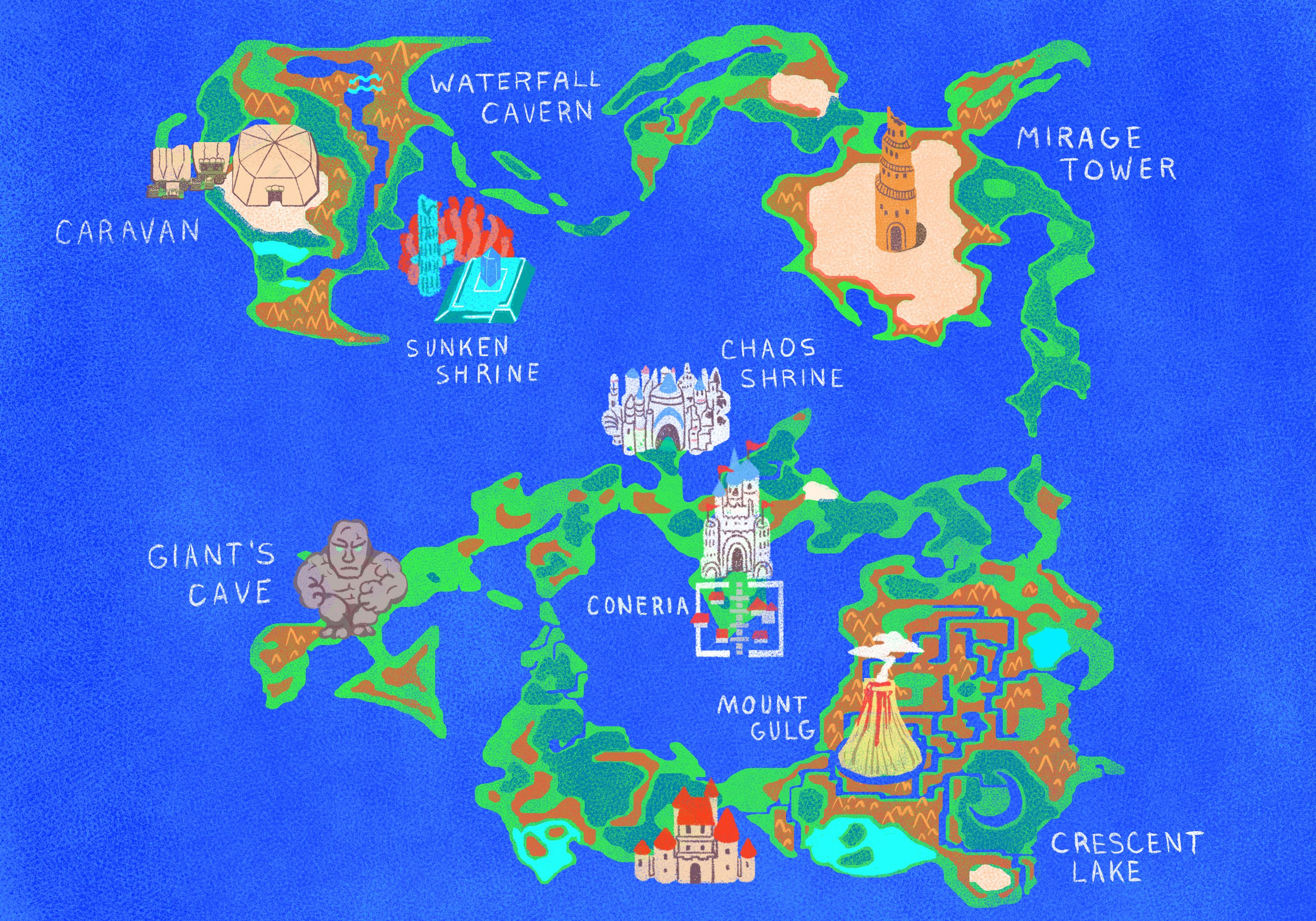 Final Fantasy 1 World Map Final Fantasy map, Angelica Alzona (With images) | Final fantasy