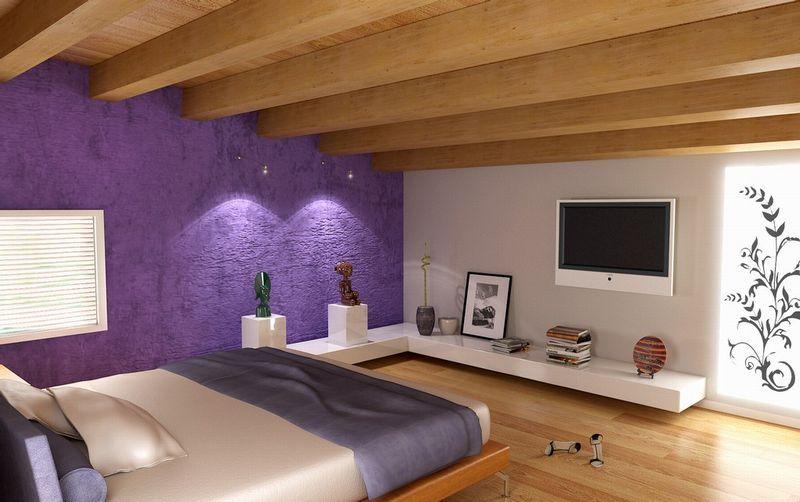 Camera dai toni chiari con tetto e pavimento in legno e pareti ...