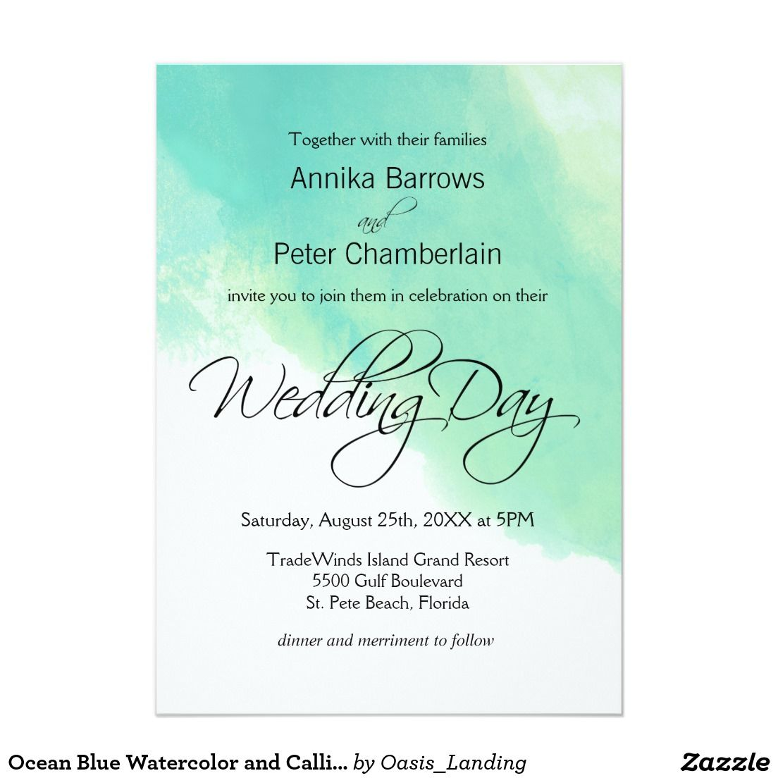 Ocean blue watercolor and calligraphy wedding card cool and explore simple wedding invitations and more stopboris Choice Image