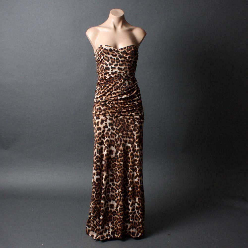 55be5879b175 formal strapless leopard print maxi dress   Strapless Brown Leopard Prom  Women Formal Evening Gown Long Maxi Dress .