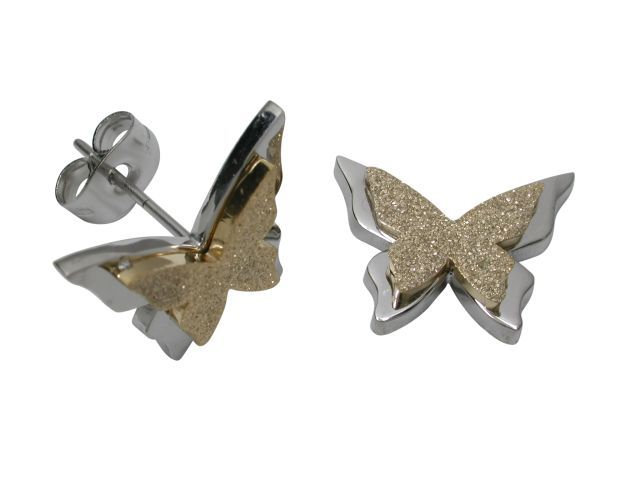 Stainless Steel & Gold Plated 15x11mm Butterfly Stud Earrings