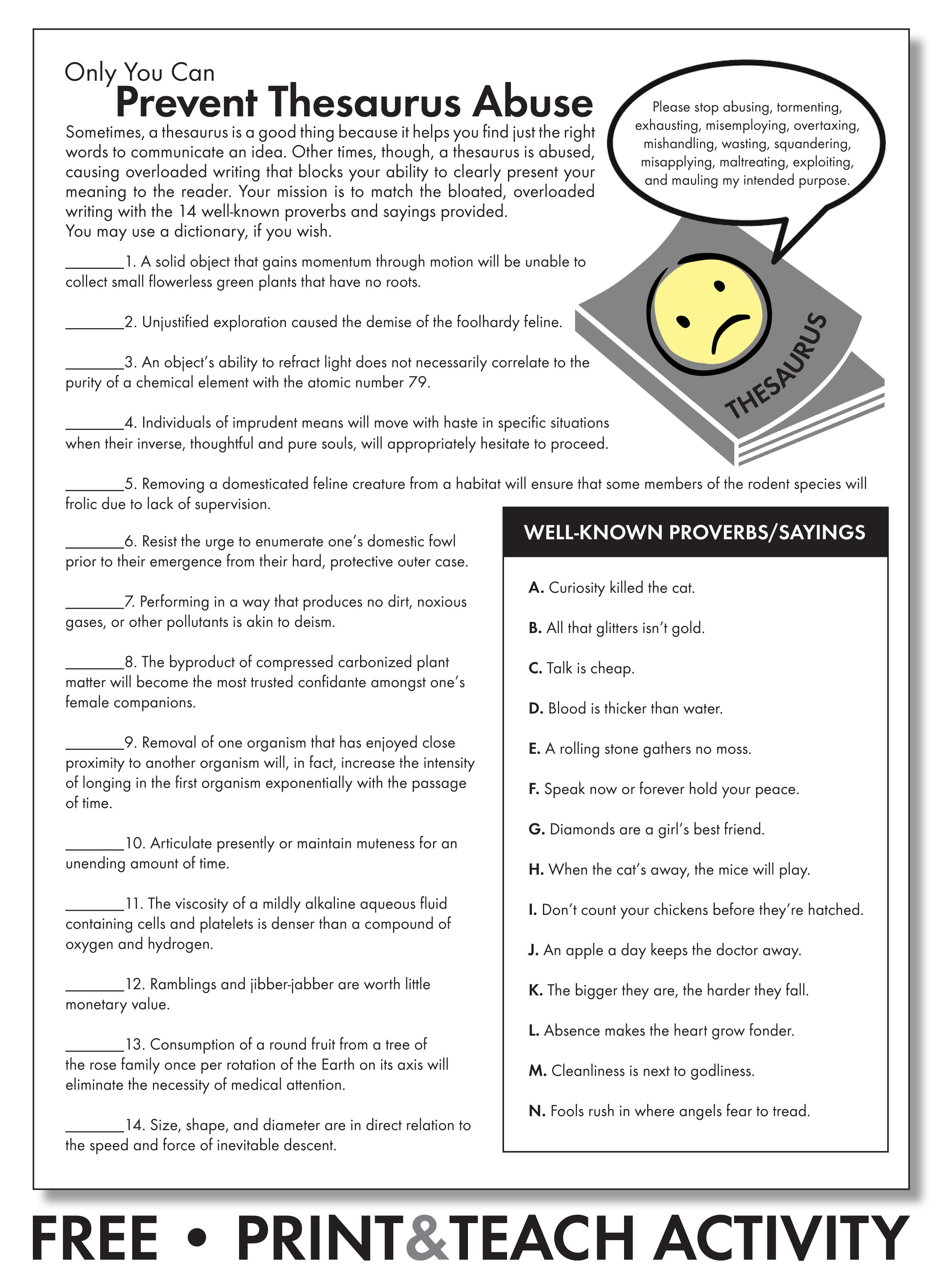 hight resolution of FREE worksheet to emphasize careful word choice. Grades 7-12  #middleschoolEnglish #highschoolEnglish #…   Thesaurus activities